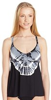 Lucky Brand Women's Half Moon Tie Dye Tankini with Strappy Back and Removable Cups