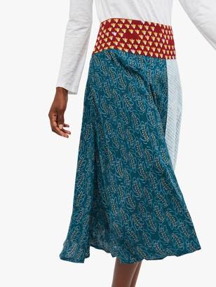 White Stuff Pigment A-Line Midi Skirt, Artist Teal