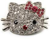 Avalaya Cute Dazzling Kitten With Pink Bow Brooch (Silver Tone)