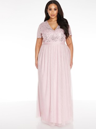 Quiz Curve V Neck Sequin Chiffon Bridesmaid Maxi Dress - Blush