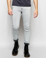 Cheap Monday Jeans Tight Stretch Skinny Fit Neutron Gray Bleach Wash