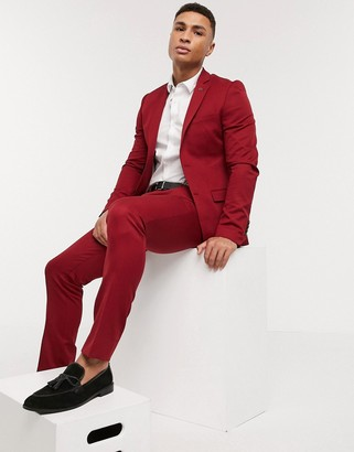 Avail London skiny fit suit pants in chilli
