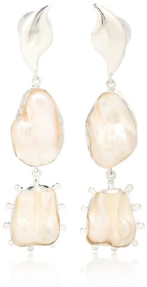 EOS 14kt white gold plated pearl earrings