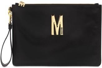 Moschino Leather Clutch W/metal Logo