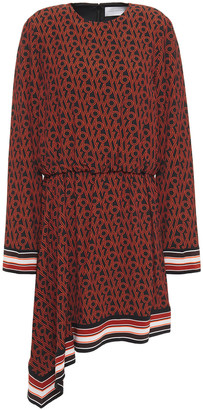 Victoria Victoria Beckham Asymmetric Printed Crepe Mini Dress