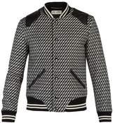 SAINT LAURENT Leather-trimmed knitted bomber jacket