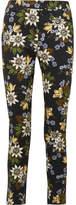 Erdem Sidney Floral-print Stretch-cotton Twill Slim-leg Pants - Black