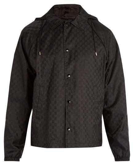 Gucci Logo Print Hooded Windbreaker Jacket - Mens - Black