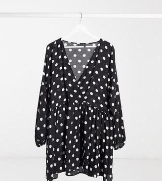 Asos Tall ASOS DESIGN Tall casual wrap front mini smock dress in mono spot