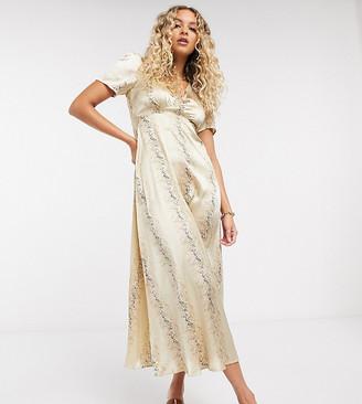 Reclaimed Vintage Inspired midi tea dress in satin in splice floral print