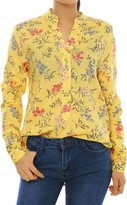 Allegra K Women Half Placket Daisy Prints High-Low Hem Shirt S