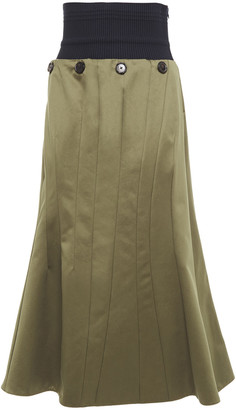 Marni Fluted Ribbed-knit And Cotton Midi Skirt