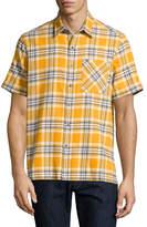 Ovadia & Sons Plaid Short-Sleeve Camp Shirt, Mustard
