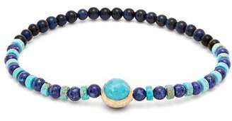 Luis Morais Tiger's Eye And Lapis Lazuli Beaded Bracelet - Mens - Light Blue