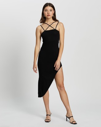 Missguided Women's Black Mini Dresses - Asymmetric Hem Double Strap Dress - Size 12 at The Iconic