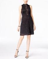 Betsy & Adam Mock-Neck Lace Dress