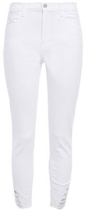 J Brand Distressed Iridescent-trimmed Mid-rise Skinny Jeans