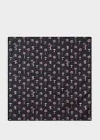 Men's Black 'Palm Trees' Print Cotton Pocket Square