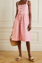 Thumbnail for your product : HVN Laura Embroidered Cotton-blend Poplin Midi Dress - Pink