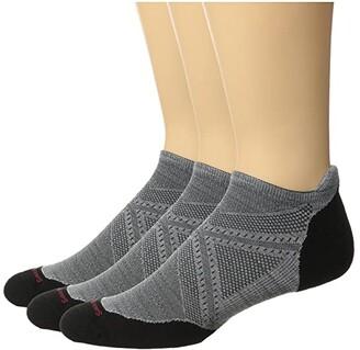 Smartwool PhD Run Light Elite Micro 3-Pack (Light Gray/Black) Crew Cut Socks Shoes