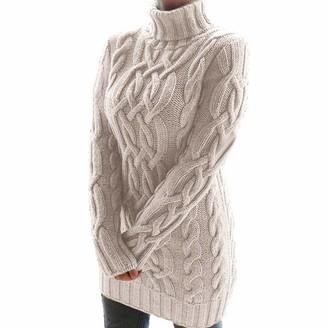 Salalooks Women Sweater Dress Winter High Waist Loose Sweater Dress