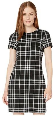 Calvin Klein Plaid T-Shirt Dress (Black/Cream) Women's Dress