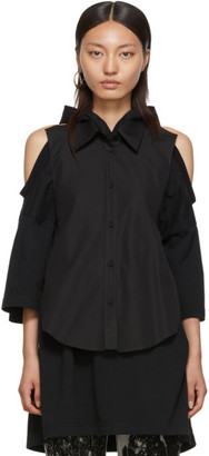 Maison Margiela Black Cotton Poplin Backless Shirt