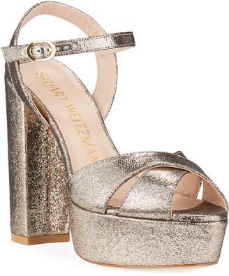 Stuart Weitzman Soliesse 130mm Metallic Velvet Platform Sandals