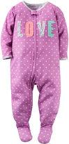 Carter's Girl Long-Sleeve Love Dot Footed Pajamas - Baby Girls newborn-24m