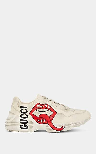 Gucci Men's Rhyton Leather Sneakers - White
