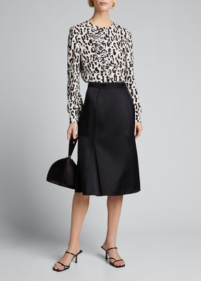 Jason Wu Collection Snow-Leopard Crepe Ruffled Blouse