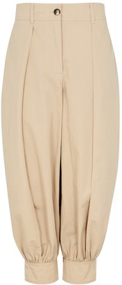 J.W.Anderson Sand cropped cotton-twill trousers