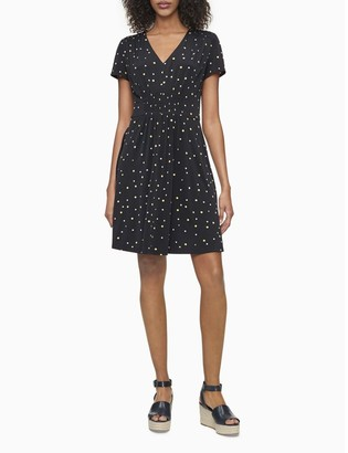 Calvin Klein Dot Print V-Neck Ruched Fit + Flare Dress