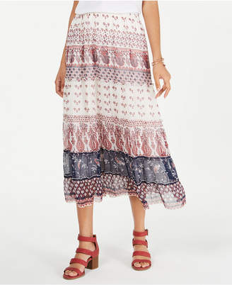 Style&Co. Style & Co Tiered Mixed-Print Midi Skirt