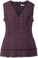Altuzarra plaid V-neck blouse