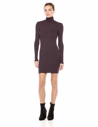 Enza Costa Women's Rib Long Sleeve Turtleneck Mini Dress