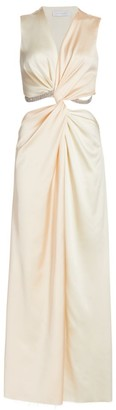 Sleeveless Twist Satin Gown