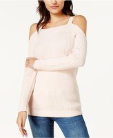 Bar III Ribbed Cold-Shoulder Sweater, Created for Macy's