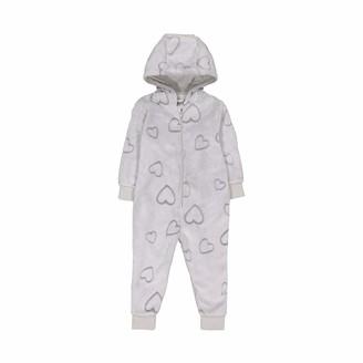 Mothercare Baby Girls Long Sleeve Heart Fluffy Onesie Pyjama Sets