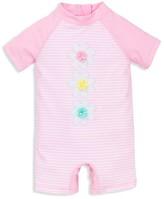 Little Me Infant Girls' Infant Girls' Striped Flower Rash Guard Swim Romper - Baby