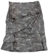 Peter Som Grey & Taupe Twisted Ruffle Skirt