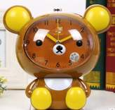 COL DOM Cute cartoon relaxed bear creative alarm clock children bedroom mute bell long 16.5CM wide 11CM high 16.5CM (Brown)