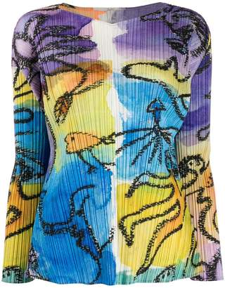 Pleats Please Issey Miyake pleated long sleeve blouse