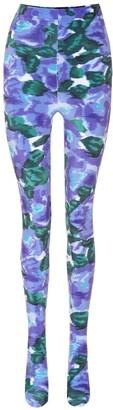 Richard Quinn Floral velvet tights