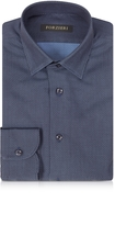 Forzieri Navy Blue Mini Dots Cotton Slim Fit Men's Shirt