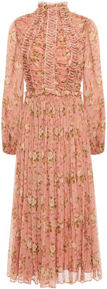 Zimmermann Espionage Lace-up Ruched Floral-print Silk-crepon Midi Dress