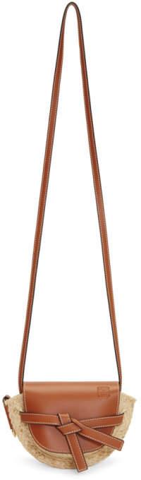 Loewe Tan and Beige Raffia Mini Gate Bag