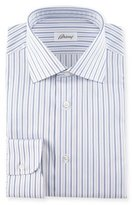 Brioni Striped Dress Shirt, Navy/Lavender