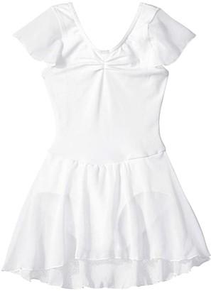 Capezio Flutter Sleeve Dress (Toddler/Little Kids/Big Kids) (White) Girl's Jumpsuit & Rompers One Piece