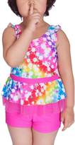 Pointss Girls' Two Piece Swimwear Flounce Bow Bathingsuit Print Tankini Swimsuit